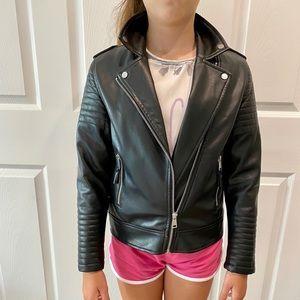 H&M VEGAN KIDS GIRLS SZ 9/10 BIKER BLACK JACKET